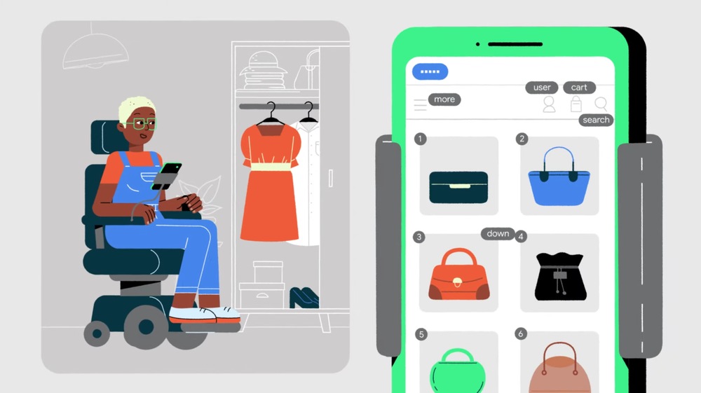 Video of how to use Voice Access to navigate your Android device using your voice. Image shows woman in a wheelchair using Voice Access to shop online.