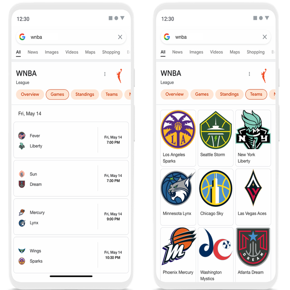 Two mobile phone screens showing search results for WBNA — one screen shows games, another shows teams