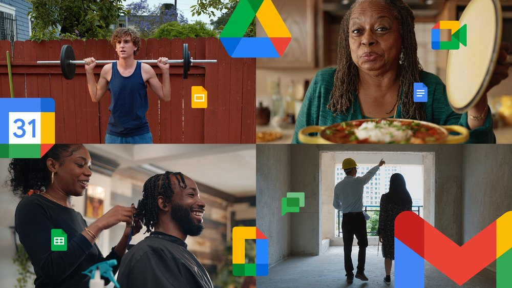 Video thumbnail image showing 4 different Google Workspace users (one lifting weights, one showing off a bowl of soup, one styling hair, and one walking through a construction site) with logos of Google Workspace products