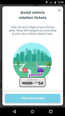 Waze licence plate