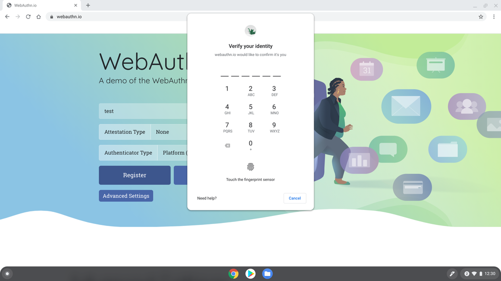 "Image showing a web page with the WebAuthn tool pulled up. A pop-up on the screen says ""verify your identity"" and has spaces for numbers to be entered."