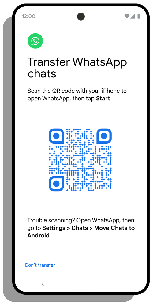 """A smartphone screen showing a QR code and the text """"Transfer WhatsApp chats"""