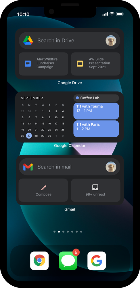 iPhone 13 in dark mode, showing Google Drive, Google Calendar and Gmail widgets.