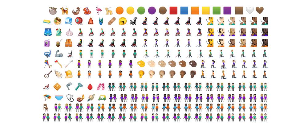 Les 65 nouveaux émojis d'Android Q (Google)