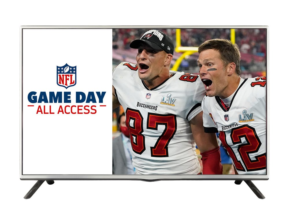 "Right Side: Two football players cheering. Left side: NFL logo and text that says ""Game Day All Access"""