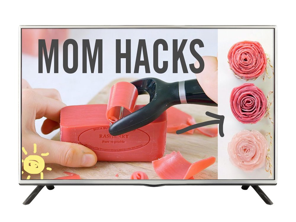 "Image of a bar of soap being shaped into a rose. Text says ""Mom Hacks"""