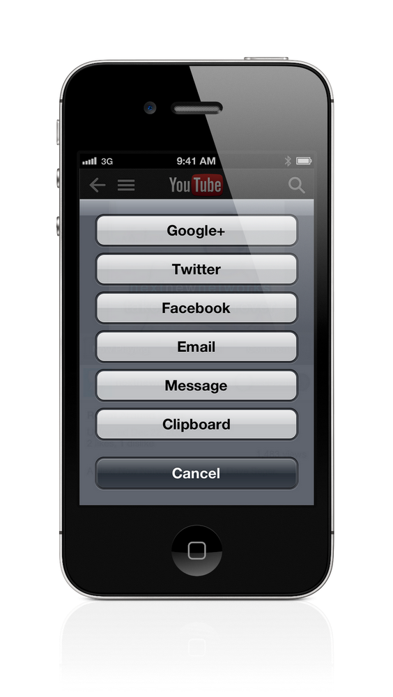 YouTube app social sharing