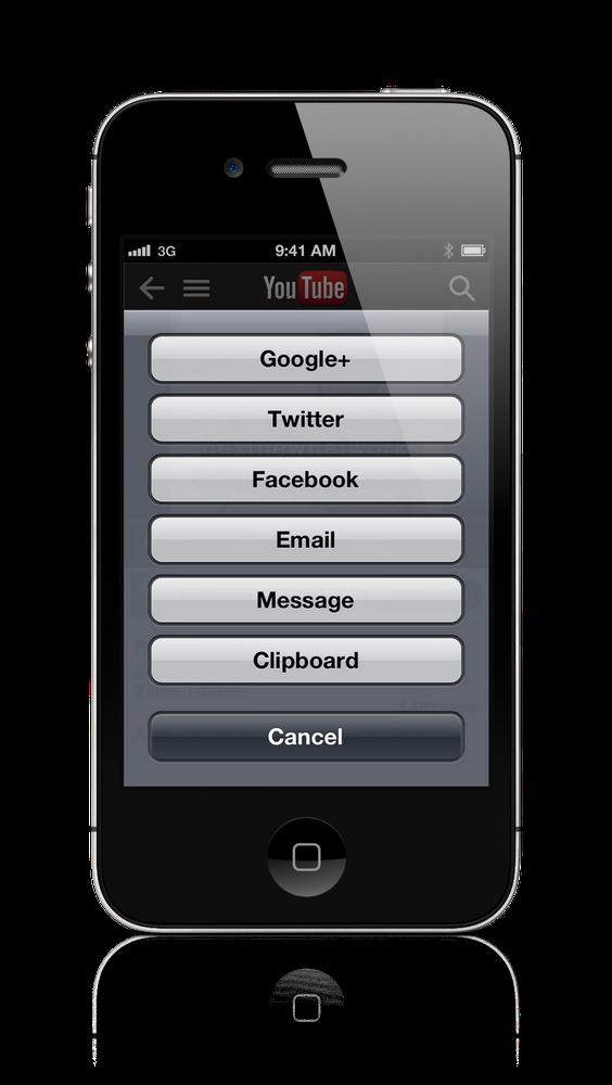 YouTube app social sharing
