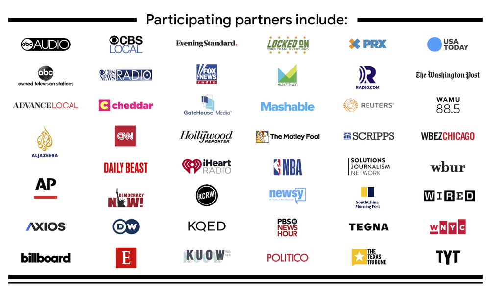 A list of partners for Your News Update, including ABC, CBS, Fox, CNN, USA Today and The Washington Post.