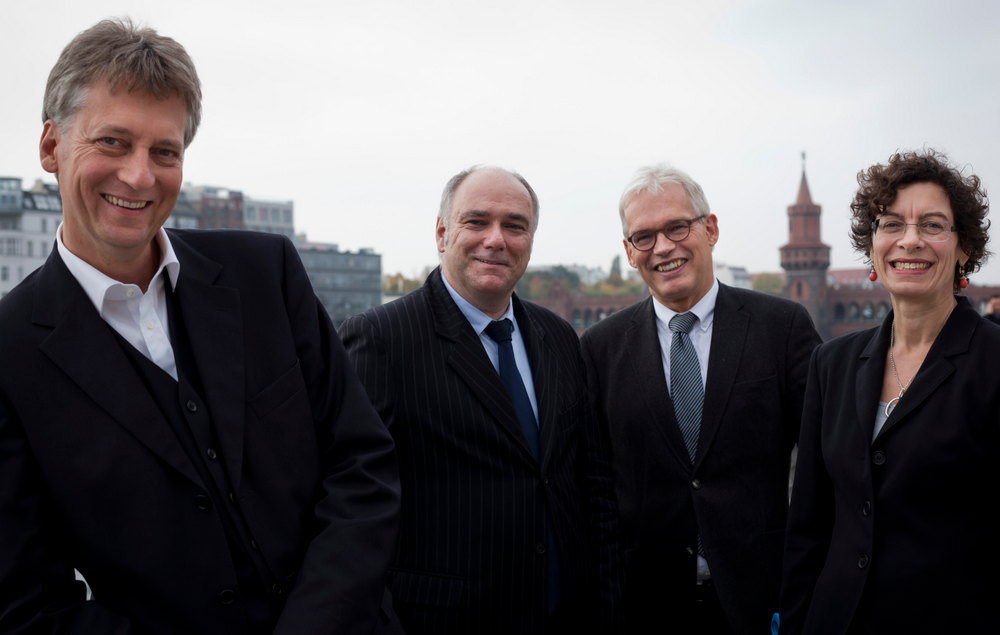 The directors of the HIIG (from left to right): Professors Thomas Schildhauer, Wolfgang Schulz, Ingolf Pernice and Jeanette Hofmann
