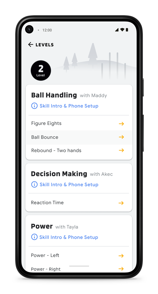 A screenshot showing the AFL activities available on the app, including ball handling, decision making and kicking.