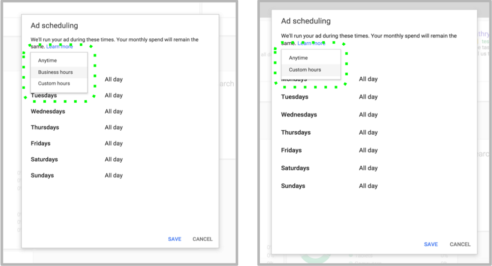 Screenshot of Ad scheduling