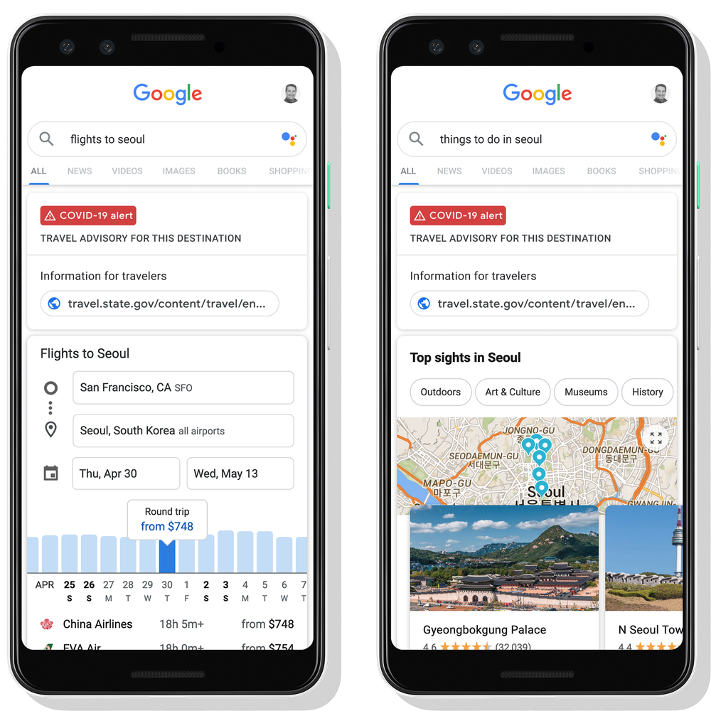 Travel advisories on Google