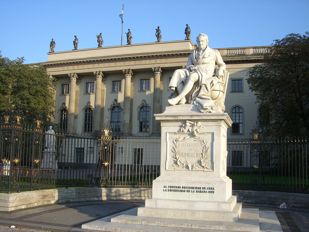 Statue of Alexander von Humboldt in front of Humboldt University in Berlin