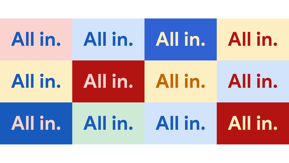 """3 x 4 grid of multicolored rectangles that say, """"All In."""""""