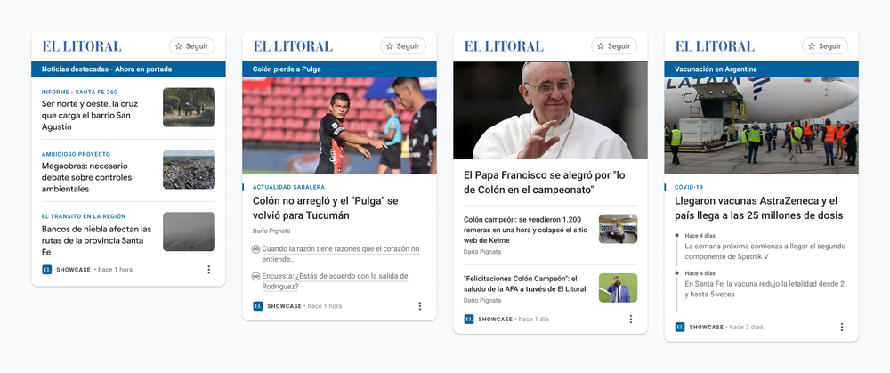 An image that shows four different News Showcase panels from our news partner El Litoral in Argentina.