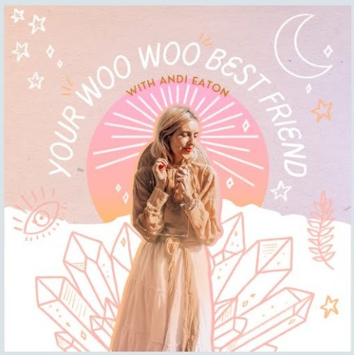 """Andi wears a flowy peach top and skirt in a photo for her spirituality and empowerment podcast, """"Your Woo Woo Best Friend."""""""