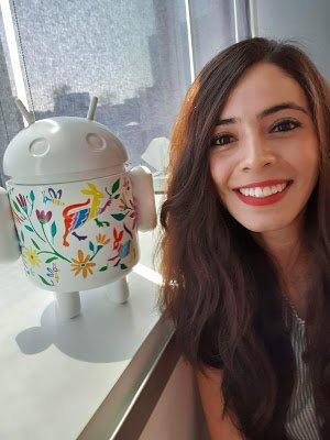 Ana with an Android statue.