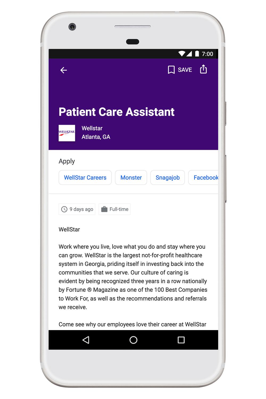 La possibilité de postuler via vos sites d'emplois préférés via Google for Job