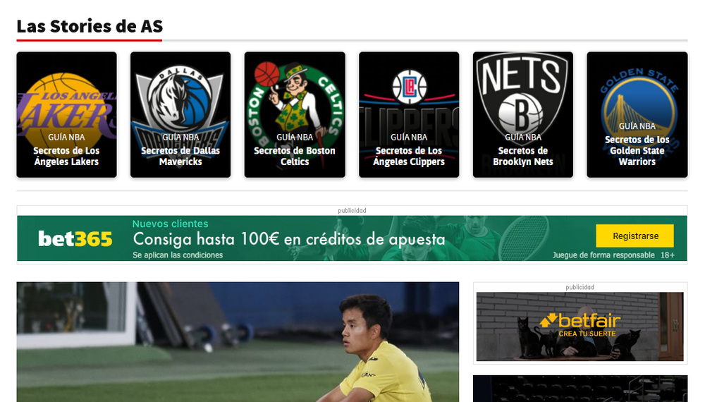 A web page on AS.com with square tiles displaying various NBA logos.
