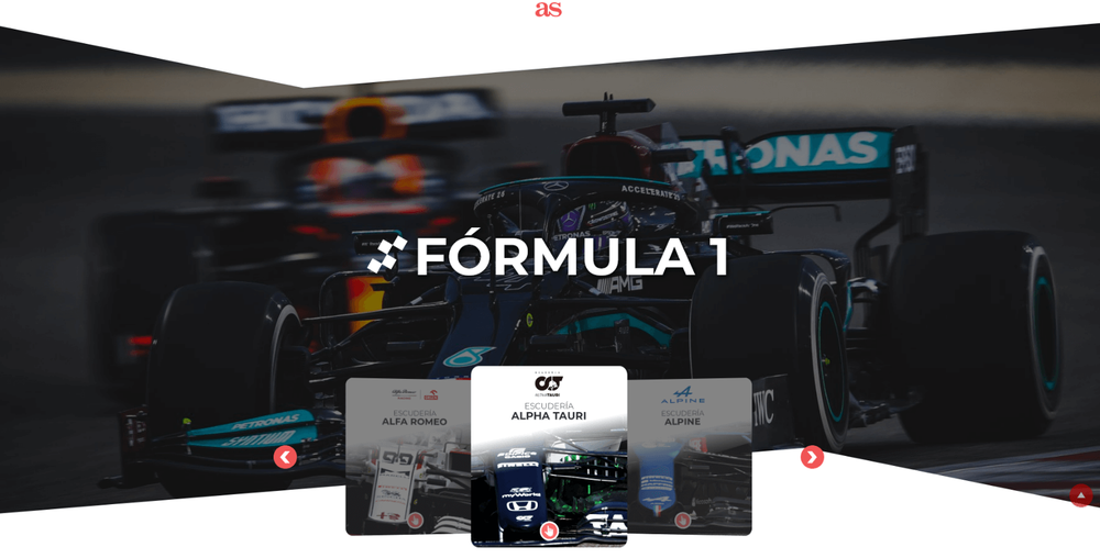 A web page with a background of a Formula 1 race car and smaller square preview tiles with Formula 1 cars and team logos.