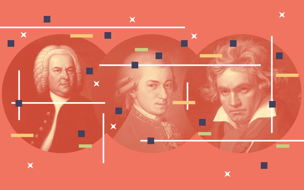 Portraits of three male composers