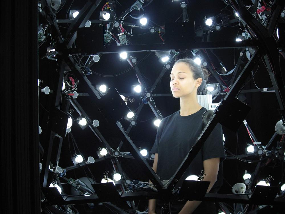 Zoe Saldana filming Avatar