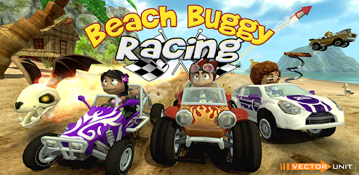Beach Buggy Racing mobile racing game image with race cars, karts, dune buggies, rally cars, flying skulls, fire, all on a beach.
