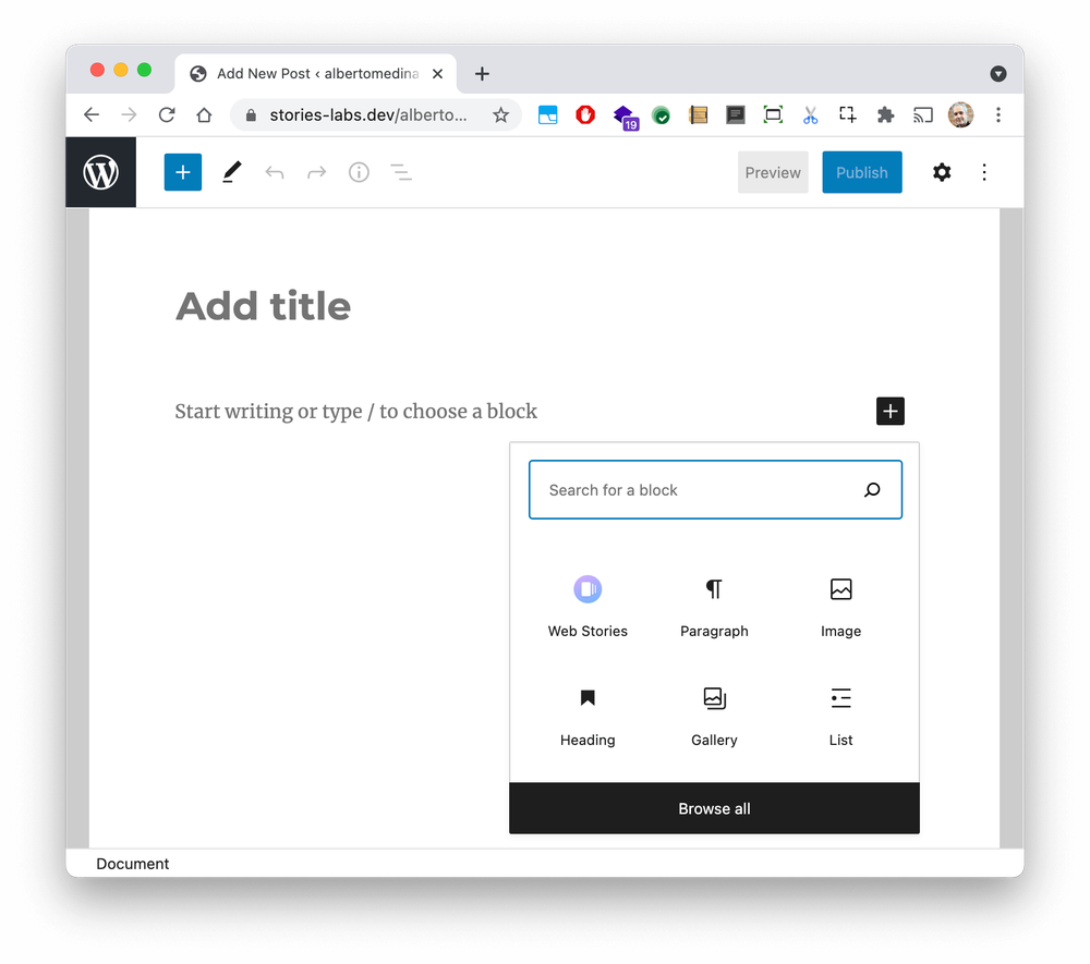 A new blog post interface in WordPress, without any content text, showing the types of blocks you can add to the post.