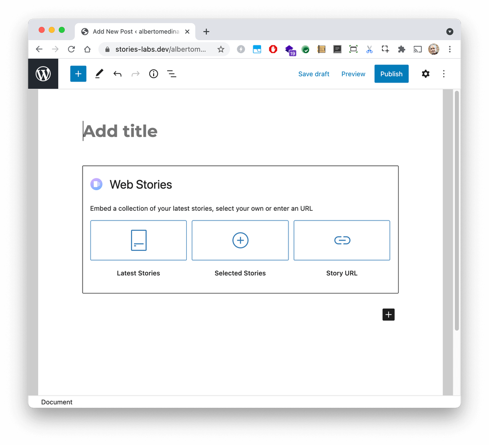 The Web Story block within the WordPress interface which has selectors to embed your latest stories, select specific stories or enter a custom URL