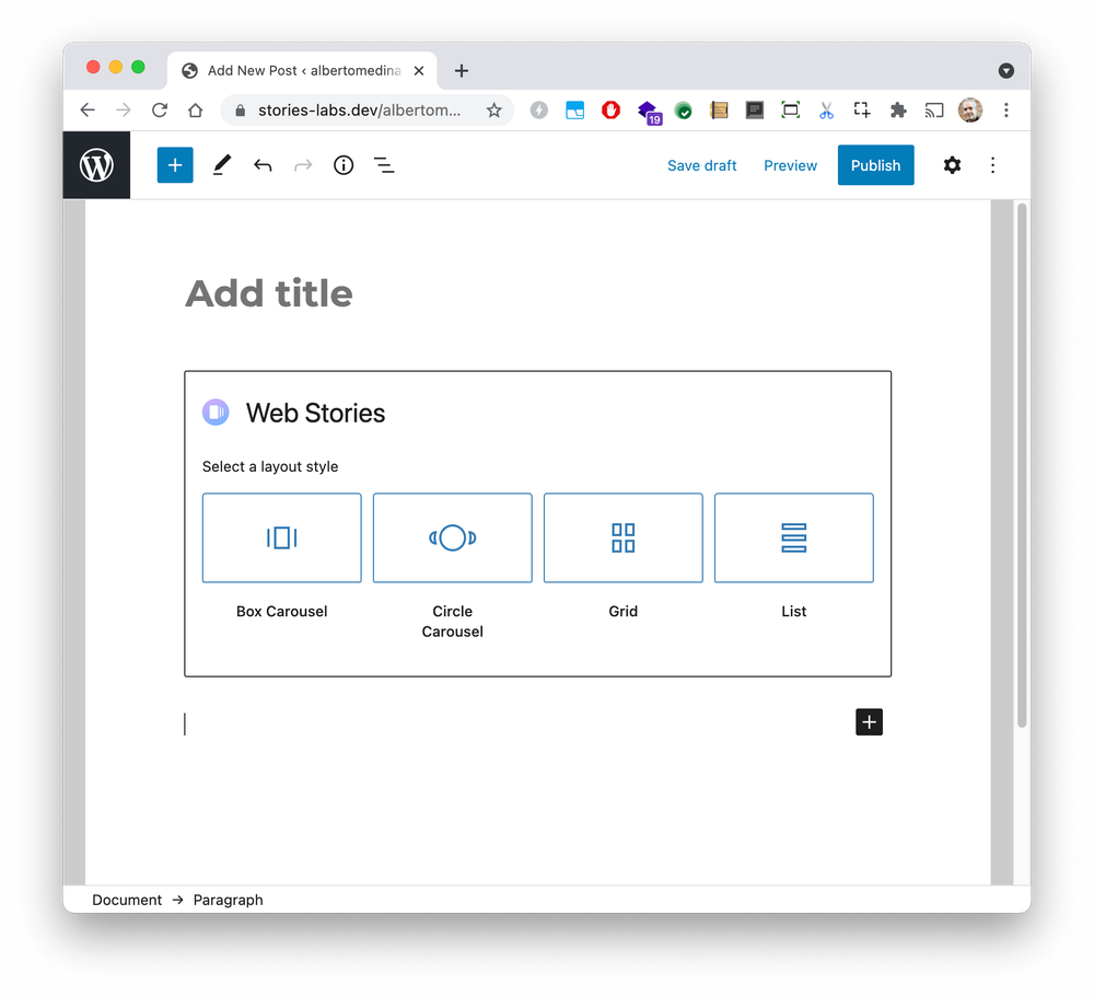 The Web Story block editor in WordPress with selectors to determine the layout of the selected Web Stories, with options for Box Carousel, Circle Carousel, Grid or List.