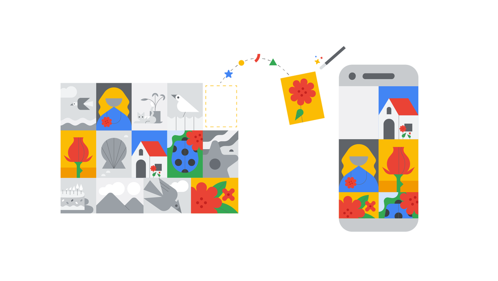 Illustration of icons of photos being moved to an icon of a phone.