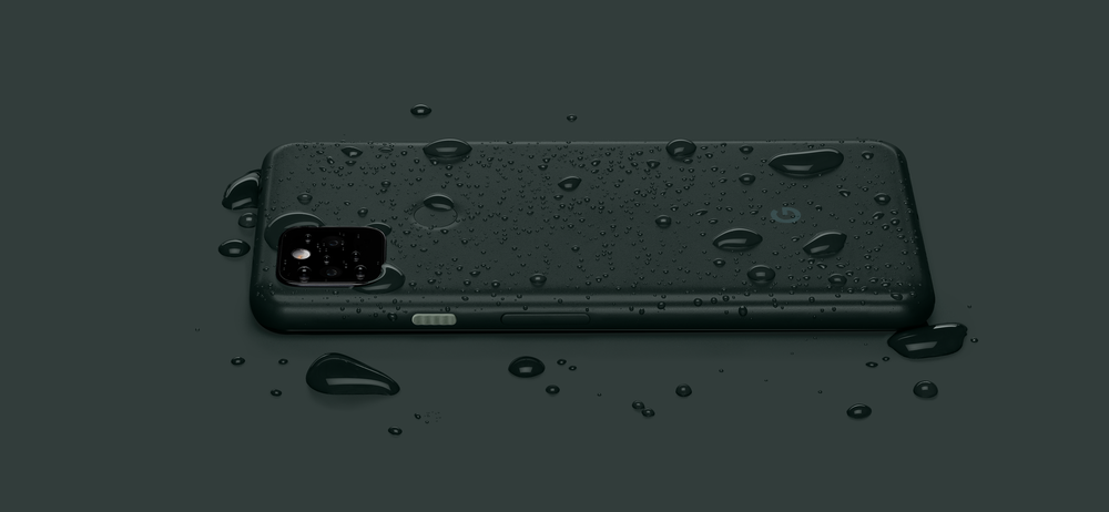 The new Pixel 5a with 5G phone has water droplets on it, showcasing the first-ever IP67 rating for A-series phones, providing water and dust resistance.