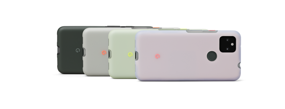 Four Pixel 5a with 5G phones are shown, each equipped a case showing all four colors that are launching.