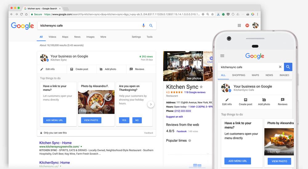 Dasboard voor je bedrijf op Google op Zoekpagina Google