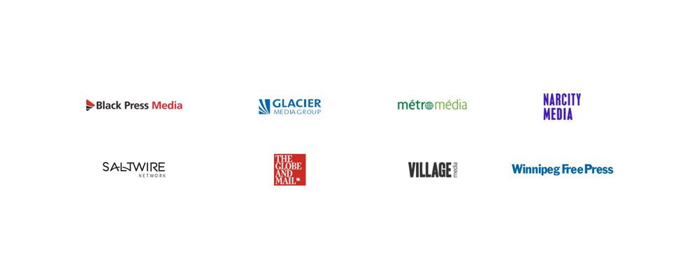 This image shows the logos of Google's current partners for News Showcase in Canada: Black Press Media, Glacier Media, The Globe and Mail, Métro Média, Narcity Media, SaltWire Network, Village Media and Winnipeg Free Press