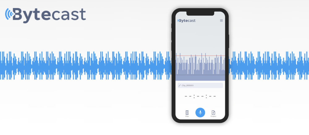 A screenshot of the Bytecast app recording an audio clip