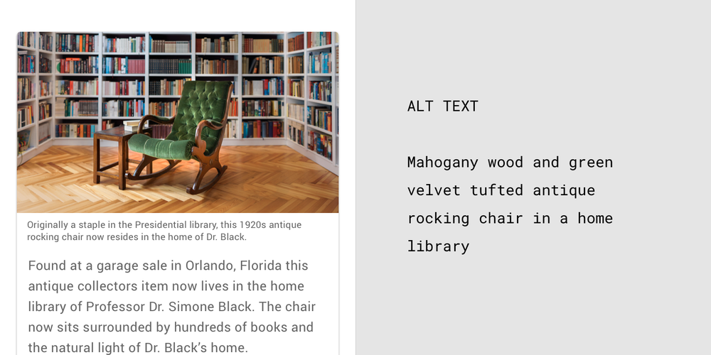 1920s antique rocking chair in Presidential library with caption, adjacent and alt text