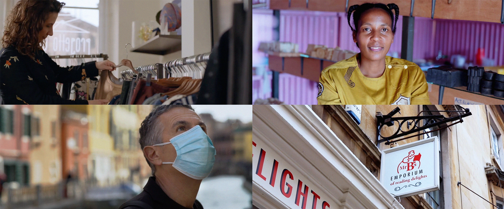 Images of various small European businesses owners and customers in the context of the pandemic
