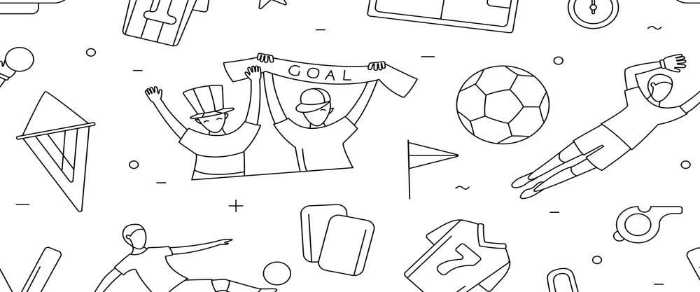 Cartoon drawing of football fans celebrating