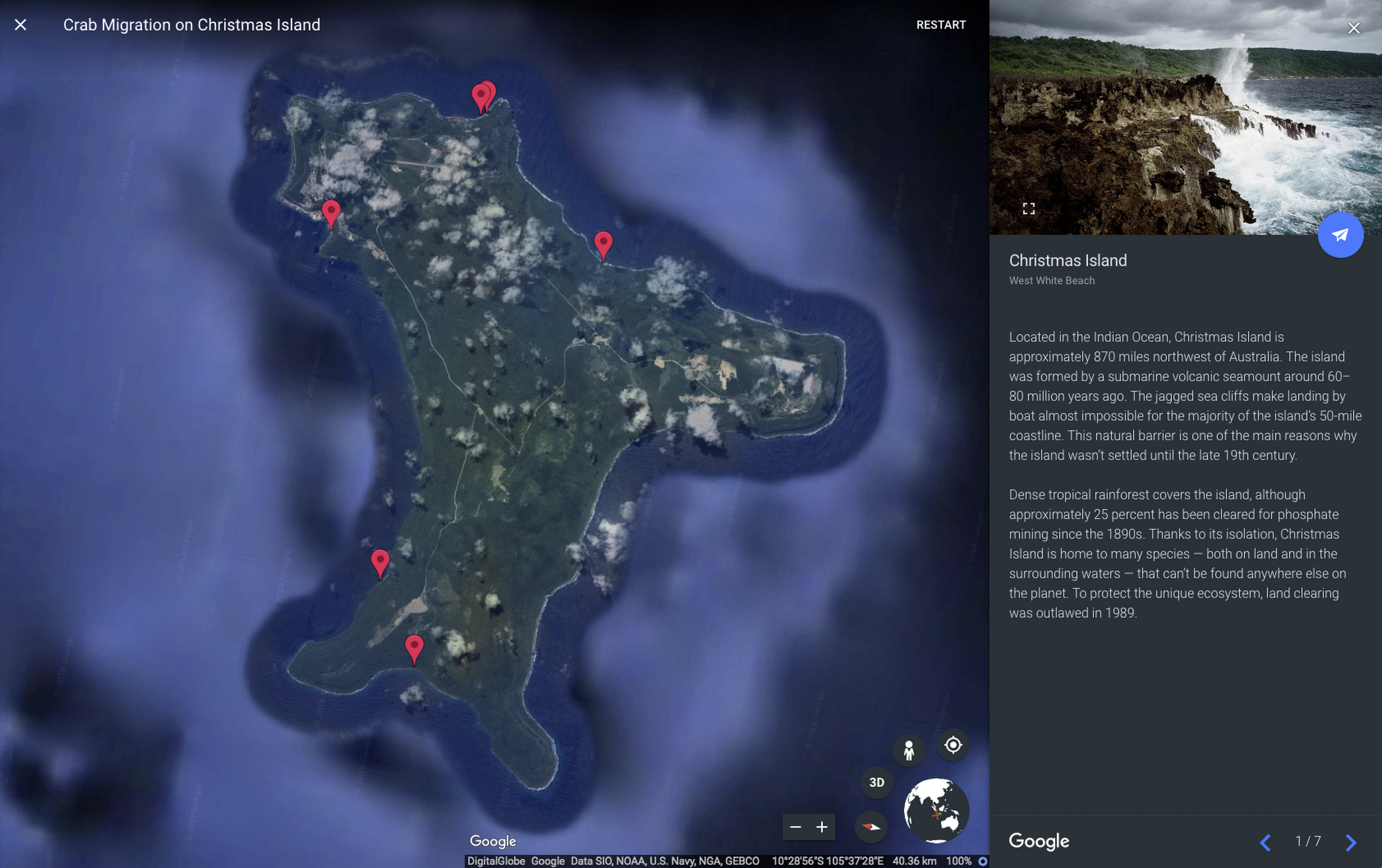 Shellebrating Christmas Island's extraordinary nature with Street View and Google Earth