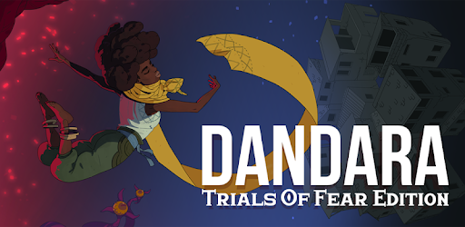 Dandara: Trials of Fear Edition mobile game image depicting the title character with her large yellow scarf flying in the wind, jumping into the nighttime sky away from a blast of red fire embers and a two-eyed tentacled monster below, towards a small town