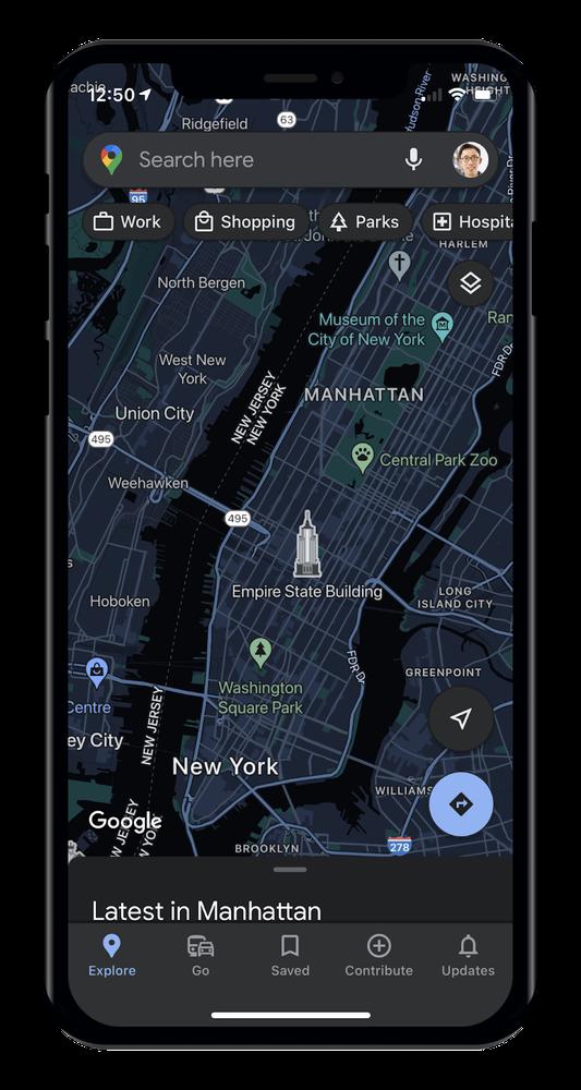 A screenshot of Google Maps on iOS in dark mode