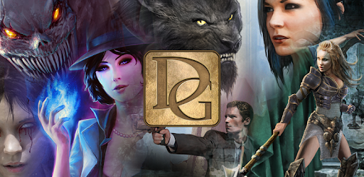 Delight Games Premium Library mobile game image depicting various fictional heroes, villains, witches and monsters from the stories within the game.