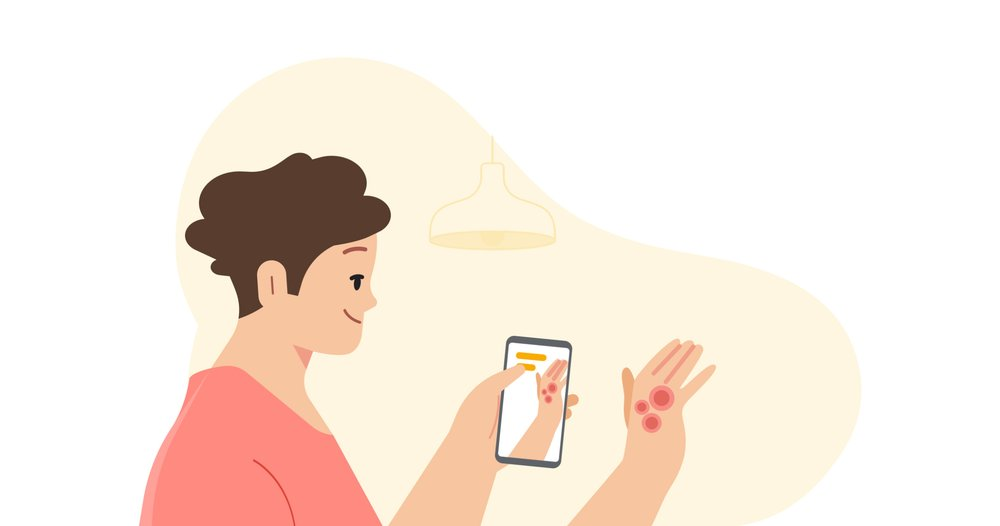Illustration of a person in a pink shirt holding up their phone to take a picture of a skin condition on their hand.