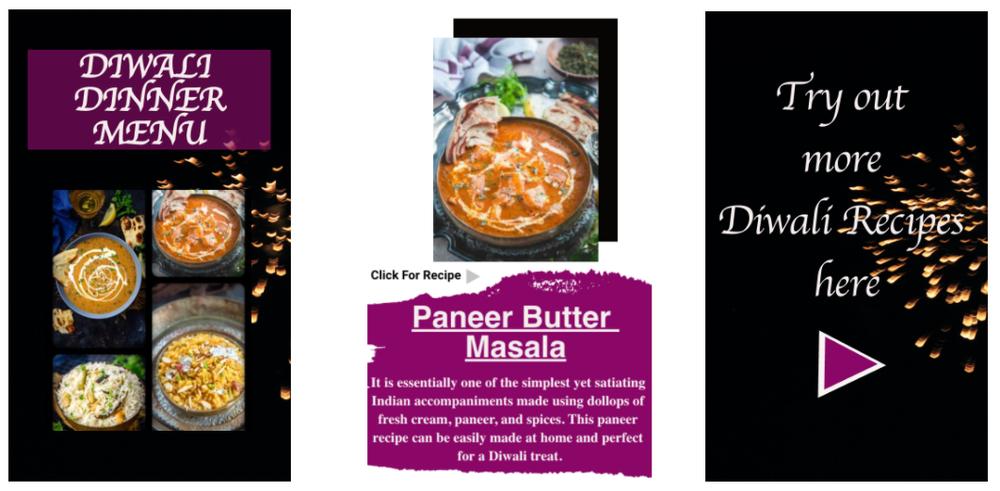 Whisk Affair's Diwali Dinner Menu Story