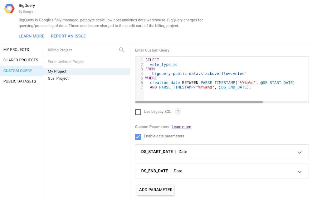 Introducing BigQuery parameters in Data Studio
