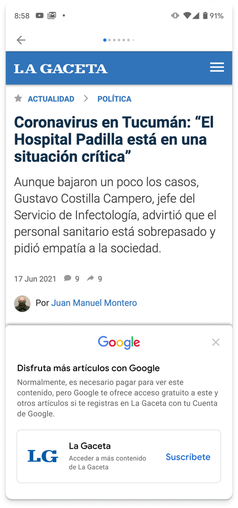 A screen grab of a News Showcase panel by La Gaceta that demonstrates how extended access, a feature that gives readers access to select paywalled stories, looks.