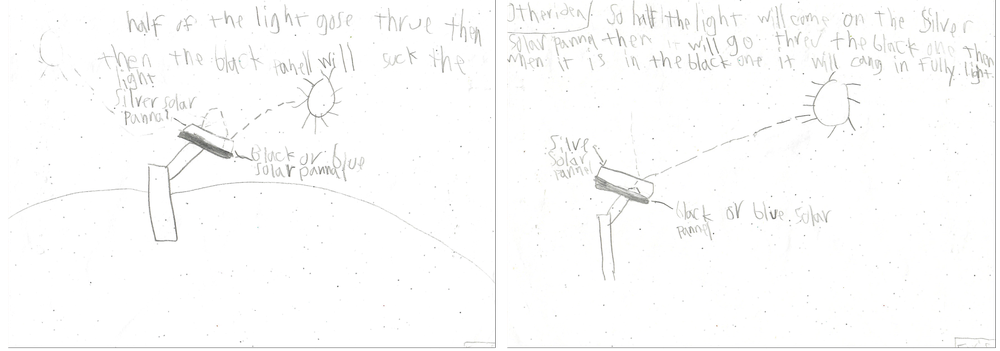 Two diagrams show Asim Tahir's son's take on how to solve the solar panel challenge.