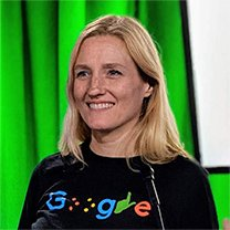 Headshot of Eve Andersson wearing a Google Accessibility shirt.